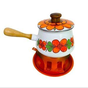 Vntg 70s Funky Fondue Pot & Burner Floral Orange